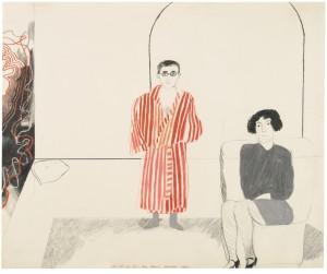 David Hockney  B.1937 PORTRAIT OF KAS AND JANE, 1965 signed, inscribed and dated December 1965 pencil and crayon 35 by 43cm.; 13¾ by 16¾in