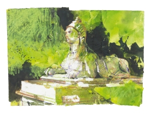 Sphinx at Chiswick, 2012 mixed media/paper, 61 x 82 cms Copyright Messum's 2013