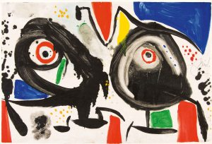 Joan Miró, L'issue dérobée, 1976 Signed middle right 'Miró'. Titled and dated 13.V.80 on verso Gouache and monotype on Japanese paper 13 x 19 3/4 in, 33 x 50 cm