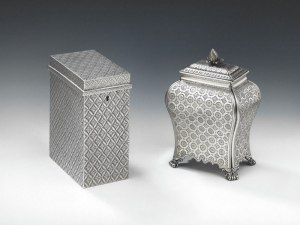 Rare Spitalfields silk engraved tea caddies, the one on the left is by John Touliet in 1790 and on the right is by Emick Romer in 1776 from Mary Cooke Antiques