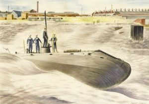 Barbara Jones, Launching of the Holland Submarine No 1. at Barrow 1901 © Liss Fine Art. All Rights Reserved