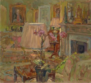Dower House Lamps And Orchid oil on canvas, 20x22 ins Courtesy of Gallery