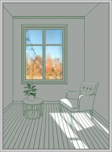 The Sunshine Room Tempered glass, decalcomania and LED backlit 71 x 53 x 6 cm