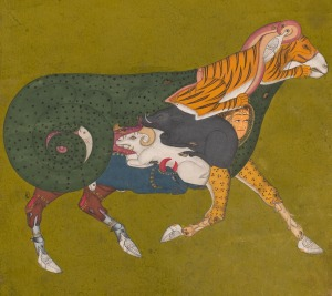 A Composite Ram             Kota , Rajasthan , India , c. 1750             Opaque watercolour on paper, 22 x 19.5 cm             Arturo Schwarz collection