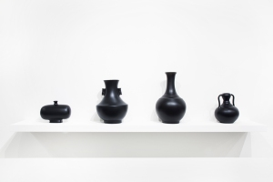 4. From left to right: a. Untitled (Black Series), 2013 Soap, varnish, pigments, 24 x 17 x 17cm b. Untitled (Black Series), 2013 Soap, varnish, pigments, 40 x 22 x 22cm c. Untitled (Black Series), 2013 Soap, varnish, pigments, 25 x 25 x 33cm d. Untitled (Black Series), 2013 Soap, varnish, pigments, 18 x 22 x 11cm