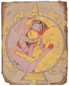 Lovers in Union             Orissa , India , 18th century             Opaque watercolour on cloth, 20 x 16 cm             Arturo Schwarz collection