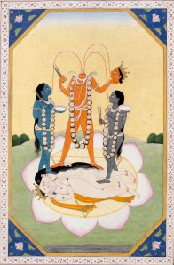 Chinnamasta             From a Tantric Devi Series             Guler workshop, Punjab Hills , India , c. 1800-20             Opaque watercolour and gold on paper, 20 x 13.5 cm (excluding borders)             Arturo Schwarz collection