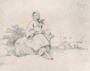 George Chinnery Boatwoman seated near the shore Macau, c. 1830 Pencil drawing H. 6 1/2 x W. 8 1/2 inches Martyn Gregory, London