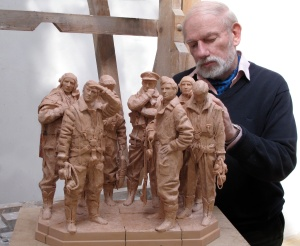 Philip Jackson working on the wax maquette for the Bomber Command Memorial