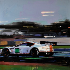 'At speed, Le Mans 24 hour race'  oil on canvas 90x90cm