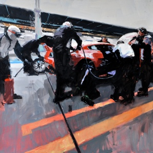 'Pit stop, Nurburgring 1'  oil on canvas 90x90cm