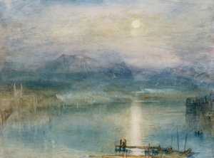 1841 Moonlight over Lake Lucerne with the Rigi in the Distance, Switzerland copy small