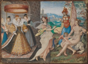 Queen Elizabeth I ('Elizabeth I and the Three Goddesses') c. 1590, attrib. Isaac Oliver.   © National Portrait Gallery, London, Purchased with the support of Mark Weiss
