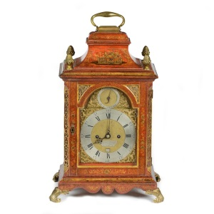 A George II red lacquer bracket clock by Robert Ward, London c1750 from Millington Adams Ltd