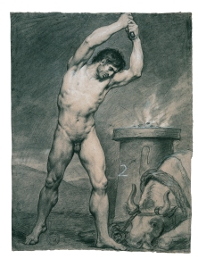 Antoine-Jean Gros, Man standing, striking a bull, 1790. © ENSBA, Paris.