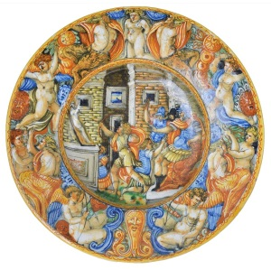 Mid 16th century Castel Durante Isoriato dish.  'Shooting the Dead Body' shows King Solomon judging two brothers. Estimate: £5000 - £8000