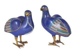 Late 18th century Chinese cloisonné quail censers and covers Estimate:  £2000-3000