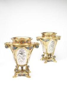 A pair of Victorian parcel-gilt-silver and enamel Graeco-Pompeian 1862 International Exhibition Wine Coolers, Elkington & Co, Birmingham.  Designed by August Adophe Willms (1827 – 1899). Estimate:  £20,000 - £30,000. (Image of one at the top of the page)