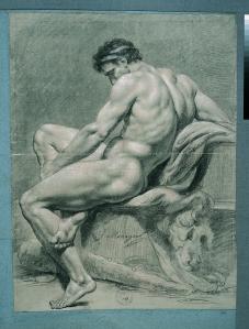 François-Guillaume Ménageot, Hercules at rest, left profile, (undated). © ENSBA, Paris.