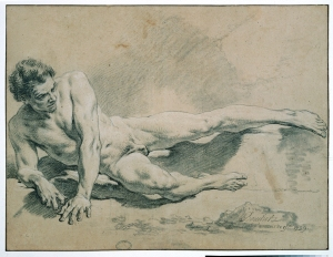 François Boucher, Study of a man lying down, an elbow leaning on the ground, 1739. © ENSBA, Paris.