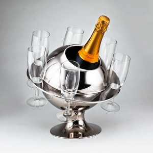French Modernist Chrome Planet Champagne Cooler, c.1955-60 from Smith & Robinson