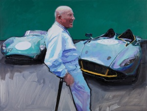 'Sir Stirling Moss with the DBR1 and CC100, Nurburgring' 2013 oil on canvas 97x128cm