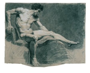 Jean-Baptiste Lagrenée, Seated man, leaning on his right arm, 1789. © ENSBA, Paris.