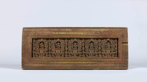 Manuscript cover with Gods of the Five Sciences 13th century Carved wood with traces of pigment and gilding 27.3 x 68.6 x 3 cm (10 ¾ x 27 x 1 in)