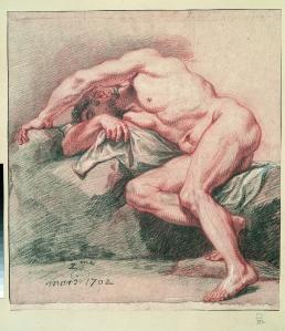 Nicolas de Plattemontagne, Sleeping man, legs bent, 1687. © ENSBA, Paris.