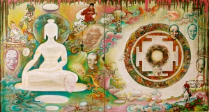 Tashi Norbu 2013 Adventure of my life Tibetan scriptures, magazines, acrylic, enamel and oil paint  120 x 240 cm (46 x 94 ½ in)