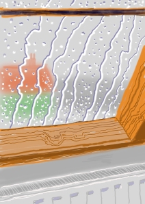 """David Hockney, Rain on the Studio Window, From My Yorkshire Deluxe Edition, 2009, Inkjet printed computer drawing on paper, 22 x 17"""", An edition of 75, with 25 H.C."""