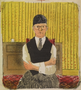 """David Hockney, Self Portrait, 1954, Lithograph in Five Colors, 11 1/2 x 10 1/4"""" Edition: 5 (approximately) © David Hockney"""
