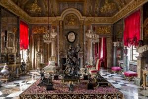"The Apollo Salon. In this room, Garcia's deep attachment to the seventeenth century is expressed through the spirit of two figures whose contribution to the decorative arts he holds in particular esteem: Cardinal Mazarin and Madame de Montespan. These two individuals cultivated their extravagant tastes in their respective residences: the Palais Royal and the Château de Clagny. Sharing her drawing room with a polar bear seemed the most natural thing in the world to Madame de Montespan. Mazarin, meanwhile, is said to have uttered his last words (""To think that I must leave all this…"") while being carried through his richly decorated home in a sedan chair. Ten years of work and the tireless quest for exceptional pieces enabled Garcia to recreate an authentic, classical-inspired decorative folly characteristic of the Grand Siècle."