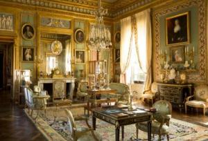 "In the drawing room, Garcia sought to evoke the sentiment conveyed in Talleyrand's famous words: ""No one who did not live through the last years of the Ancien Régime can ever know how sweet life can be."" Contrary to popular belief, aristocratic salons of that era were crowded with objects and furniture. The wealthier the owner the more valuable these would be. Here the seating, ornaments, Sèvres vases, carpet, guéridons, small tables, paintings, and musical instruments form a lavish setting characteristic of the closing years of the Ancien Régime."