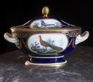 : Each piece of the Sèvres service has a midnight-blue background and is decorated with birds from François Nicolas Martinet's illustrations for Buffon's Natural History of Birds. Each dish is framed with a thick band of gilding and floral motifs, in addition to the owner's arms. The birds pictured are identified on the back of each piece. The service features 435 species, including the Louisiana starling, Italian solitary blackbird, Cayenne oriole, and long-tailed Senegal turtledove. Other marks indicate the year of production: 1792 or 1793.
