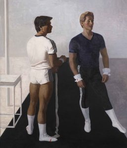 Mikhail N. Izotov (born 1956) Gymnasts . Portrait of Vladimir Artemov and Yury Korolyov 1987 Oil on canvas. 175.5 by 149 сm Institute of Russian Realist Art