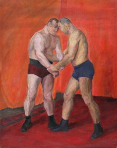 Olga P. Vaulina (1902–1996) Wrestling 1930s Oil on canvas. 112.5 by 88.5 сm The 'New Gallery' Art Foundation