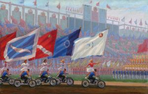 Sergey A. Luchishkin (1902–1989) Parade at the Dynamo Stadium. 1936–1976 Oil on canvas. 70 by 103.5 сm Institute of Russian Realist Art
