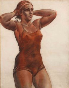 Alexander A. Deyneka (1899–1969) Sports woman tying a ribbon. 1950s Charcoal and sanguine on paper . 99 by 79 сm Institute of Russian Realist Art
