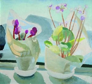 Winifred Nicholson, Cyclamen and Primula, c.1922-3, oil on paper / board, 50 x 55 cm, Kettle's Yard / © Kettle's Yard / Trustees of Winifred Nicholson
