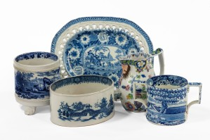 Late C18th and early C19th Blue & White English pottery:  Rectangular plate (cut border) Rogers Zebra pattern c1815, £220; Loving cup, Italian pattern, £235; Jug, Rathbone, c1825, £275; Cachepot/flowerpot, Adams 'Cattle Scenery' c1900, £275; Potted meat tub, c1790, £185 Exhibitor: Sue Norman
