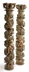 A pair of early 18th century carved wood pillars, Portuguese, c1700, £7,800 the pair from Galerie Arabesque