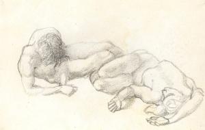 Sir Edward Burne-Jones, Bt. ARA, RWS (1833-1898) Study of Reclining Knights Pencil 17 x 27 cm A study for the Briar Rose series Harry Moore-Gwyn