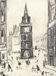 'Street scene with clock tower' by LS Lowry & Harold Riley, pencil and crayon, £47,500 from Haynes Fine Art of Broadway