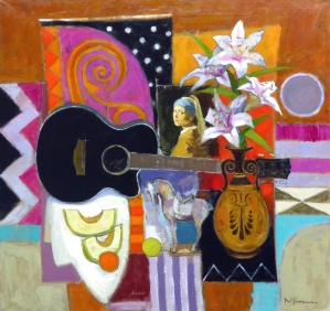 Jack Morrocco Black Guitar and Vermeer Oil on canvas 34 x 36 inches £9,200