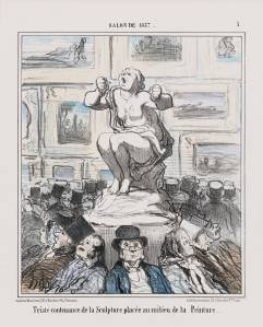 Honore Daumier Salon de 1857 ... Triste Contenance de la Sculpture, 22 July 1857 Lithograph, second state, album impression, hand-coloured 33 x 24.5 cm Museum of Fine Arts, Boston. Bequest of William Perkins Babcock