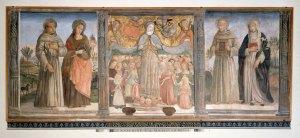 Benvenuto di Giovanni, Madonna della Misericordia (Madonna of Mercy) fresco, 1472, Banca Monte dei Paschi di Siena headquarters