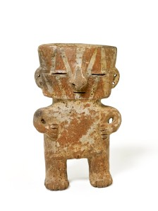 Figurine rattle, late Quimbaya, ceramic, AD 700–1600 .  © The Trustees of the British Museum