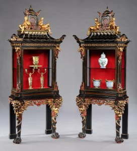 A Rare Pair of French Display Cabinets in the Chinoiserie Manner Dimensions: H: 85 in / 217 cm   W: 35 in / 89 cm   D: 17 in / 43 cm Circa 1870