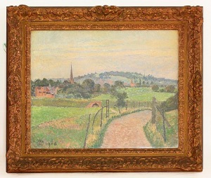 A Highly Important Landscape of Stratford-upon-Avon, By Lucien Pissarro (1863-1944) Oil on canvas, signed lower left with Pissarro's monogram, and dated 1906. Sight Size: H: 22 in / 55 cm   W: 25 in / 64 cm Provenance: John Bensusan-Butt (1911-1977), thence, family descent.